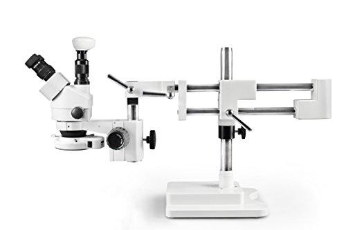 Vision Scientific VS-5F-IFR07-5N Trinocular Zoom Stereo Microscope 10x Widefield Eyepiece 07x—45x Zoom Range 7x—45x Magnification Range Double Arm Boom Stand 50MP Digital Eyepiece Camera