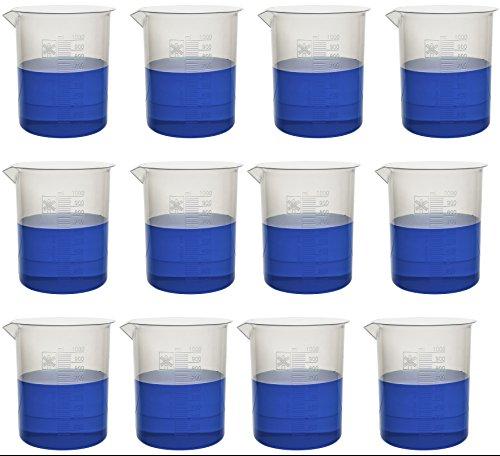 1000ml Plastic Beaker 20ml Graduations Premium Polypropylene Pack of 12