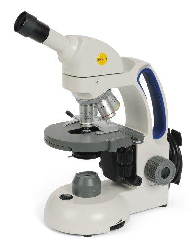 Swift Optical M3602-4 Basic Monocular Compound Microscope WF10x Eyepiece 40x-1000x Magnification Brightfield LED Illumination Abbe Condenser Iris Diaphragm Mechanical Stage 110V