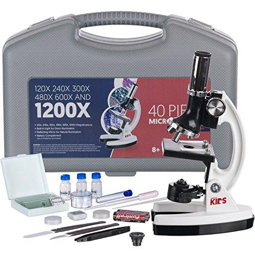 AMSCOPE-KIDS M30-ABS-KT1-W 120X-240X-300X-480X-600X-1200X 48pc Metal Arm Base Educational Kids Biological Microscope Kit