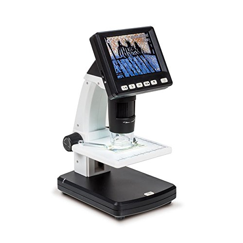 JVR TL55 35 LCD Digital Microscope Portable Rechargeable Stand-alone Microscope with 5MP Digital Camera 20x-300x Optical Zoom 1200x Digital Magnification for Field Observation Insect Fiber Stamp