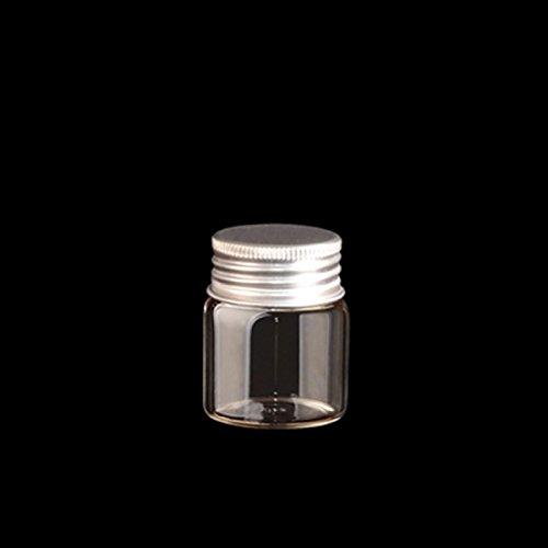 10pcs Sample Vials Clear Glass Bottles with Aluminum Caps Jars Small Bottle 20ml