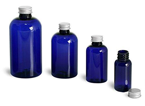 2 Oz Blue PET Boston Rounds with Lined Aluminum Caps 48 Bottles