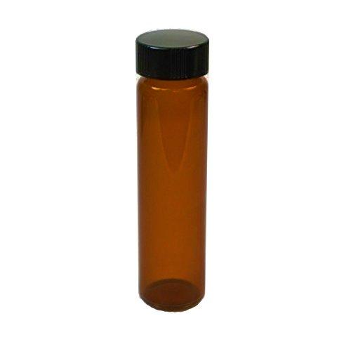 4-Pack of 375 Tall  8 Dram  1 oz  30 mL Amber Glass UV Resistant Sample Storage Cosmetic Herb Spice Specimen Container Vial wBlack Phenolic Screw on Caps