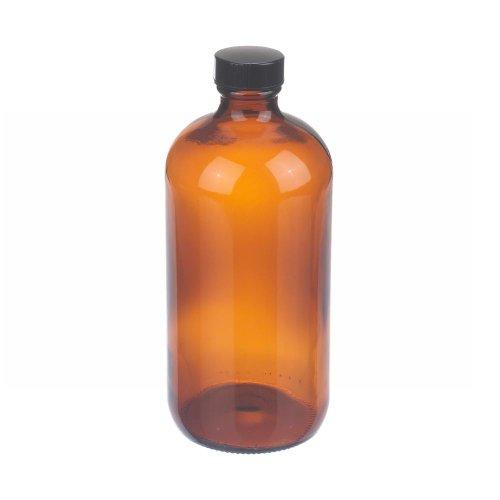 Wheaton W216857 Boston Round Bottle Amber Glass Capacity 16oz With 28-400 Black Phenolic Rubber Lined Screw Cap Diameter 75mm x 168mm Case Of 12