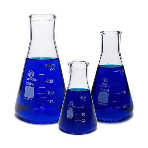 Huaou Narrow Mouth Glass Erlenmeyer Flask Set with Heavy Duty Rim - 3 Sizes - 50 150 and 250ml Borosilicate Glass