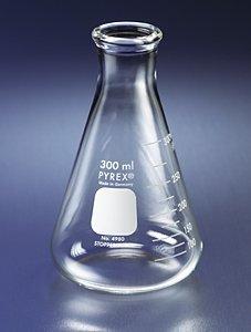 PYREX 250mL Narrow Mouth Erlenmeyer Flasks with Heavy Duty Rim 12pk
