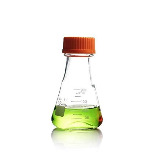 JIANFEI LIANG 4pcs- 250mL Erlenmeyer Flask with Screw Cap Borosilicate 33 Glass Laboratory Chemistry Equipment Size  250ml