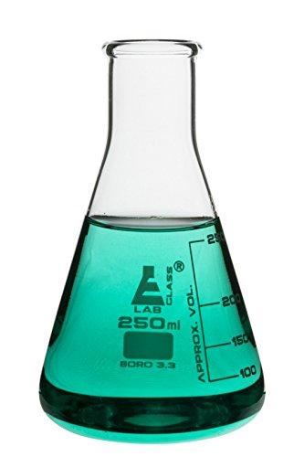 250ml Erlenmeyer Flask  Narrow Neck Eisco Labs 33 Borosilicate Glass  Single flask