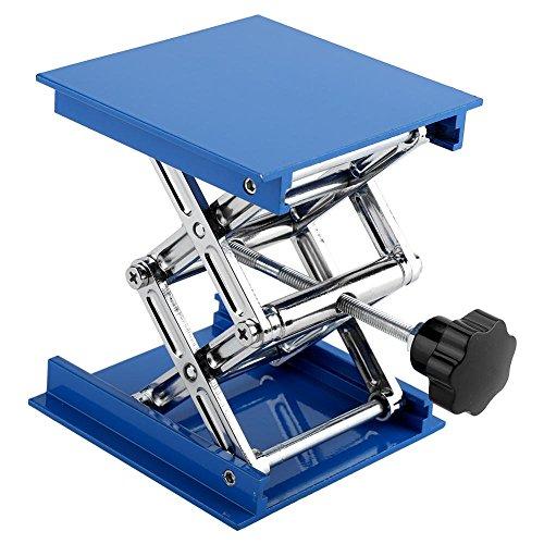 Lab Jack Lab Lift Platform 100 x 100mm Blue Electroplated Aluminum Durable Lift Table Lab Lifting Stand Rack Adjustable Platform Scissor Jack Lifter Practical Lab Tool Assortment
