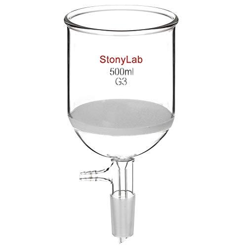 StonyLab Borosilicate Glass Buchner Filtering Funnel with Fine Frit G3 94mm Inner-Diameter 100mm Depth with 2440 Standard Taper Inner Joint and Vacuum Serrated Tubulation 500 mL