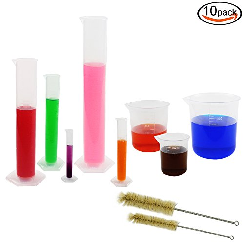 DEPEPE 5 Clear Plastic Graduated Cylinders with 3 Plastic Beakers and 2 Test Tube Brushes