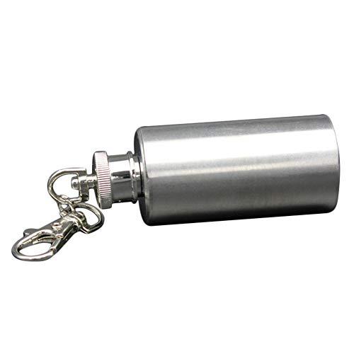 junshi11 Portable 2 oz Mini Wine Bottle Key Chain Stainless Steel Cylinder Key Ring Liquor Hip Flask Gift Toy for Men Silver