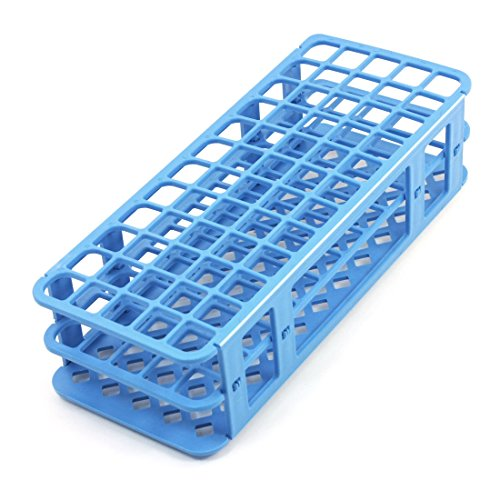 uxcell Lab Tool Blue Plastic 60 Position 18mm Hole Test Tube Stand Holder