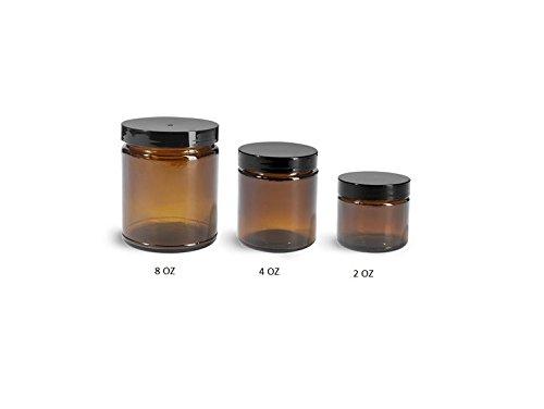 Amber 4 Oz Glass Jar Black Lid - Pack of 6