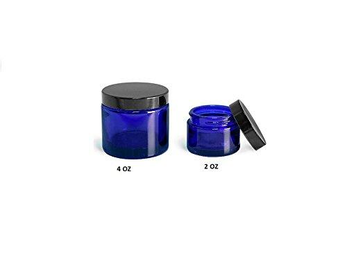 Blue 2 oz Glass Jar Black Lid - Pack of 6