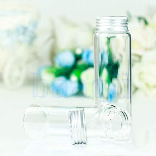 FidgetKute 2 Glass Clear Test Tube Bottle vials Screw Cap Flat Bottom 120ML 37mmx120mm MA