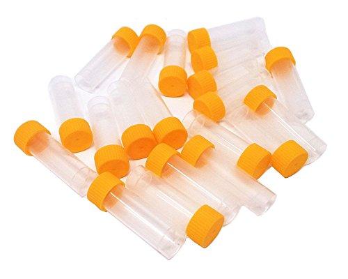 Honbay 20pcs 5ml Plastic Test Tubes Screw Cap Vial Orange Seal Cap Container