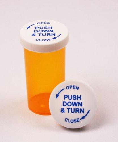 Amber Prescription Pharmacy Vials 16 Dram Vials with Child Resistant Caps Quantity 270 Vials per Case Caps Included