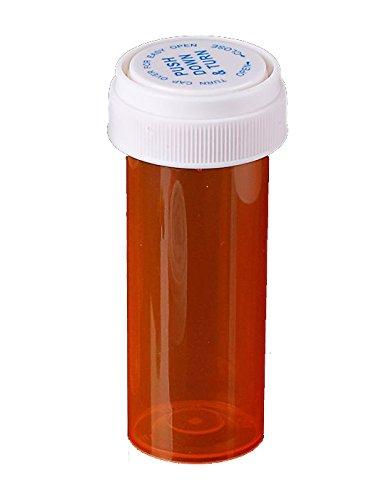 Amber Prescription Pharmacy Vials 16 Dram Vials with Reversible Caps Quantity 240 Vials per Case Caps Included