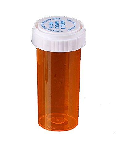 Amber Prescription Pharmacy Vials 40 Dram Vials with Reversible Caps Quantity 130 Vials per Case Caps Included
