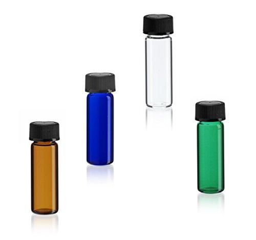 MagnaKoys 1 Dram 2 Dram Variety Pack of Glass Vials w Black Caps for Essential Oils Liquids 4 Pack 1 DRAM