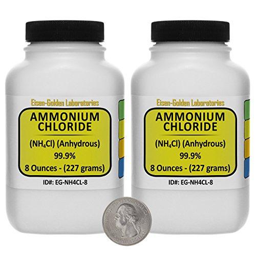 Ammonium Chloride NH4Cl 999 ACS Grade Powder 1 Lb in Two Space-Saver Bottles USA
