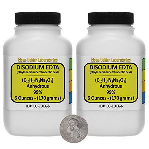 Disodium EDTA C10H14N2Na2O8 99 ACS Grade Powder 12 Oz in Two Space-Saver Bottles USA