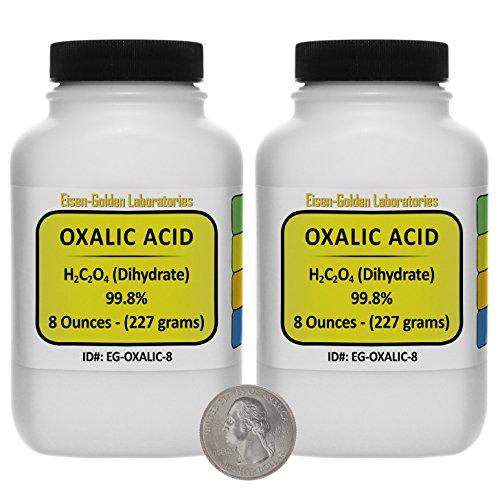 Oxalic Acid C2H2O4 998 ACS Grade Powder 1 Lb in Two Space-Saver Bottles USA