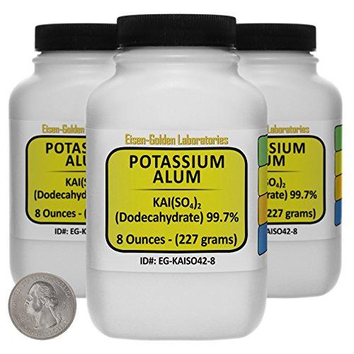 Potassium Alum KAlSO42 997 ACS Grade Powder 15 Lb in Three Space-Saver Bottles USA