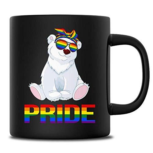 Polar Bear Pride Rainbow Bandana Sunglasses LGBT Support Mug Lesbian Gay Coffee Mugs Birthday Christmas Animals Lover Men Women Gift Ideas Funny 11 Ounce Black Mug