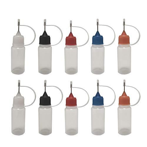 30 Pack 10ml Multi Color Caps Needle Bottle Dropper Bottle eliquid Bottle Liquid Bottle Squeeze Bottle Steel Needle TIP Dropper Bottles