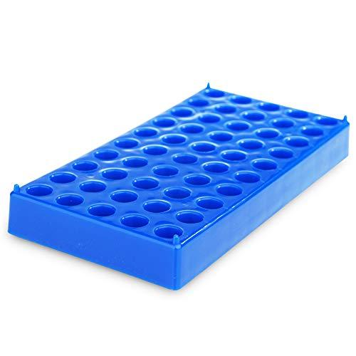 Alberts Filter Vial Holder Standard 2ml 12mm Vial Rack HPLC Vial Storage Rack for Lab Blue Polypropylene Tube Rack with 50 holes-1 pack