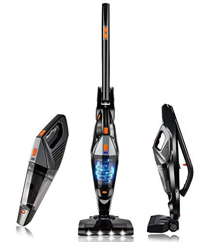 Cordless Vacuum Hikeren Stick Vacuum Cleaner Powerful Lightweight 2 in 1 Handheld Vacuum with Rechargeable Lithium Ion Battery for Hardwood Floor Carpet Pet Hair Black