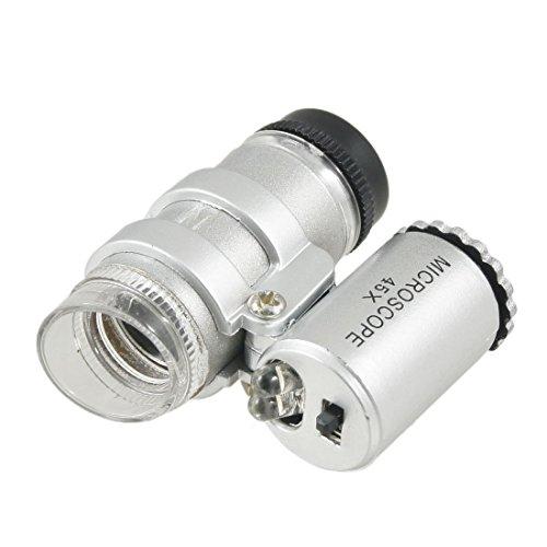 PHYHOO 45X Mini Pocket Microscope with LED Lamp Jeweler Magnifier Loupe