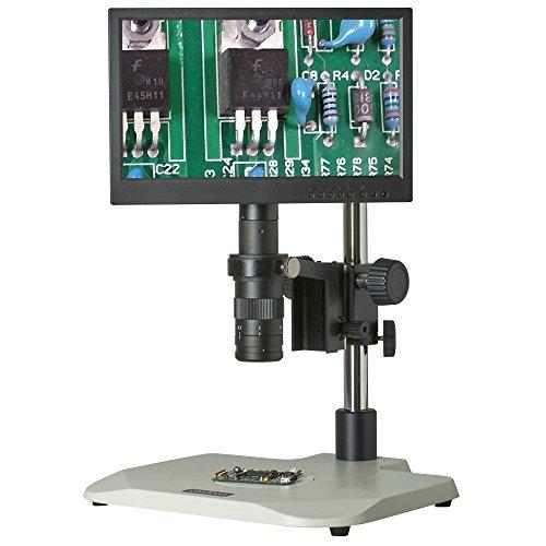 TMS-CX3-OM10K-V3 7x-45x - Digital Zoom Microscope - HDMI Microscope Camera - Integrated 116 LCD Display - Ergonomic Pole Stand - 80 LED Ring Light - 05x Barlow Lens