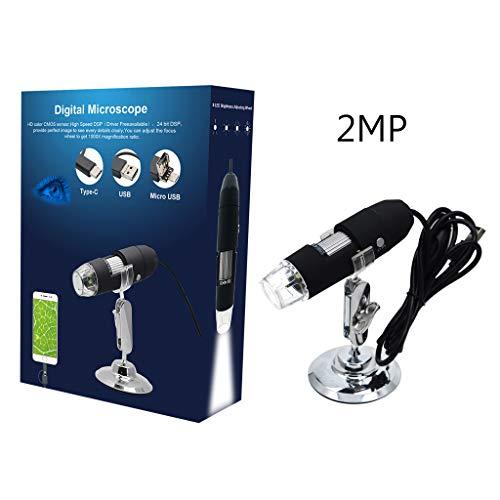 Rubsy 2MP 3 in1 USB 1000X Microscope Camera Professional 1080p Video Microscope for Smart Phone OSX Windows PC
