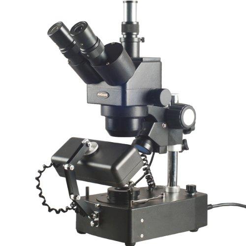 5X-80X Jewelry Gem Trinocular Stereo Microscope with Three Lights