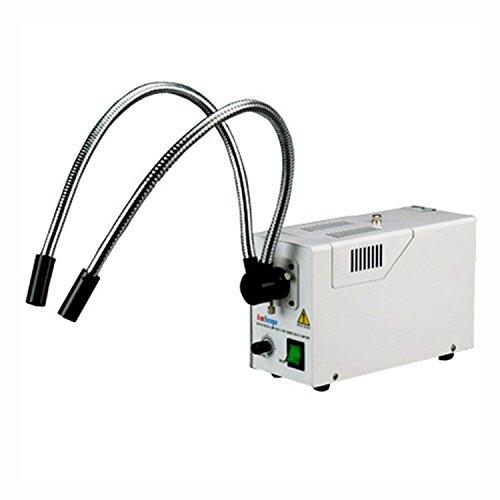 AmScope HL250-AY Dual-Gooseneck Fiber Optic Stereo Microscope Light 150W Halogen Light Source 110V-120V