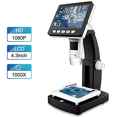 LCD Digital Microscope FOCLEN 43 inch 50X-1000X Magnification Zoom 1080P 20 Megapixels Compound Handhled Rechargeable 8 Adjustable LED Lights Lab Microscopes Camera