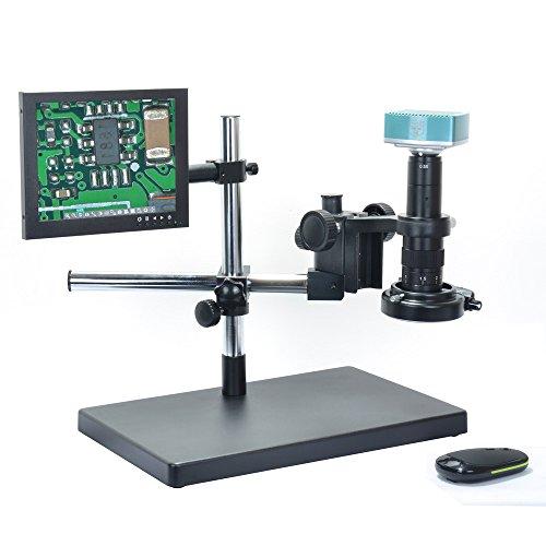 Aihome 1080P HDMI Full HD USB Digital Industrial Microscope Camera 180X C-mount LensBig Boom Stand Universal Bracket 8Inch LCD Monitor
