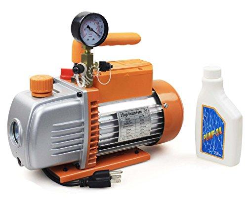 BACOENG 5 CFM 2 Stage Rotary 110V 12HP Vane Vacuum Pump HVAC With Gauge