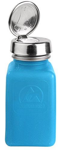 MENDA 35283 One Touch Stainless Steel Liquid Dispenser Pump ESD Safe durAstatic Square Bottle 6 oz High Density PolyethyleneStainless Steel Blue