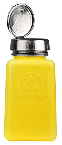 Menda 35276 One Touch Liquid Dispenser Pump Bottle ESD Safe 6 oz Dissipative HDPEStainless Steel Yellow