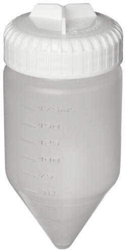 Nalgene 3143-0175 Polypropylene Copolymer Conical-Bottom 175mL Centrifuge Bottle with Polypropylene Screw ClosureSilicone Gasket Pack of 4