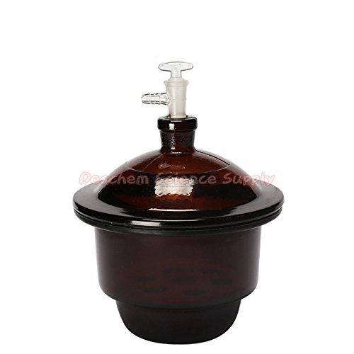Deschem 210mmAmber Glass Vacuum Desiccator Jar21cmLabBrown Drying DryerLid with Vacuum