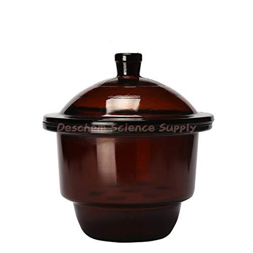 Deschem 210mmBrown Glass Desiccator Jar21cm Amber Dessicator DryerLab Glassware