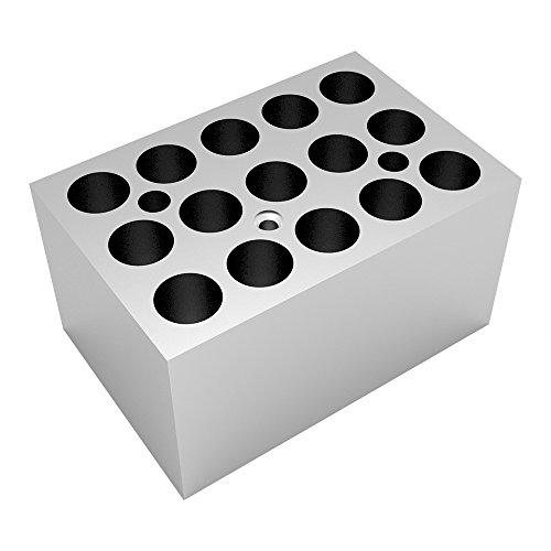 Four Es Scientific Aluminum Dry Bath Heating Block for Digital Dry Bath Incubator 15x20ml Centrifuge Tubes Capacity