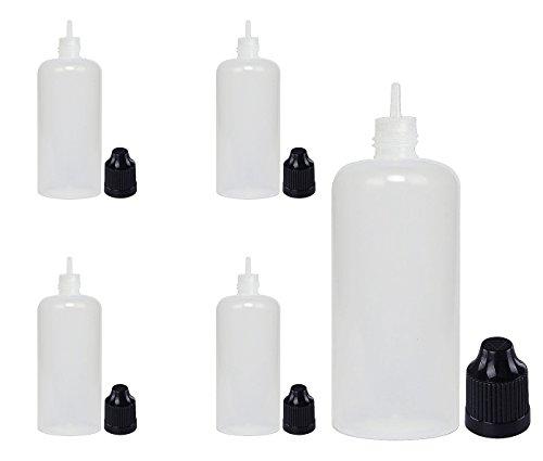 100mL LDPE Plastic Dropper Bottles Thin tip Child Resistant Cap 5 Pack