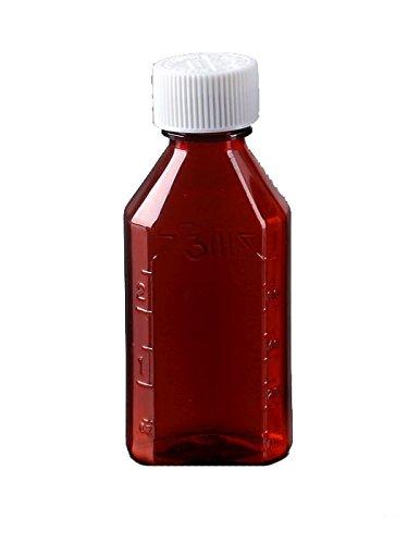 Amexdrug Oval Plastic Bottles - 2 oz - Amber - Child Resistant Caps - 12 pcs Medicine Bottle Pharmacy Bottle Liquid Medicine